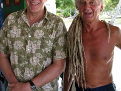 Bob sports the bald look while his new found friend shows off his amazingly long dreadlocks