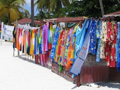Plenty of colorful sarongs for sale at Jolly Beach