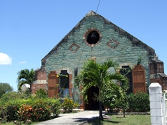 An old Antiguan Church made entirely out of green stone