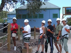 Patrica, Bubba, Shannon, Fran, Luke and Becky preparing for the first zip line