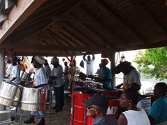 Everyone gearing up in anticipation of the Sunday ritual, island music with a steel band at Shirley Heights
