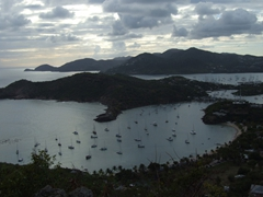 Watching as the sun sets over the harbor from 18th Century ruins is one of Antigua's must do's; Shirley Heights