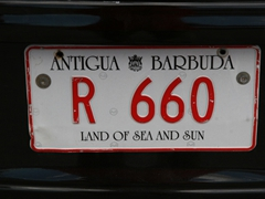 "Antigua license plate, ""Land of Sea and Sun"""