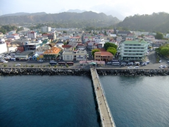 """View of Roseau, capital of Dominica. The town's name comes from the river reeds (""""roseaux"""" in French) that grow around the estuary"""
