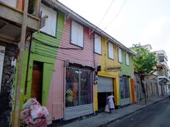 Multi-colored building; Roseau
