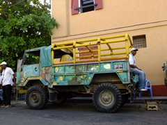 """Dominica is one of the world's premier """"eco-tourism"""" destinations and there were tons of similar vehicles waiting in Roseau to pick up their cruise-ship clientele"""