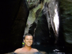 """Robby in the middle of Titou Gorge (where a portion of the film """"Pirates of the Caribbean 2"""" was filmed)"""