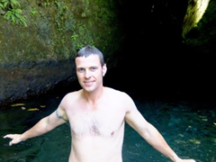 After having jumped from the top of the cliff into Titou gorge, Robby emerges injury free