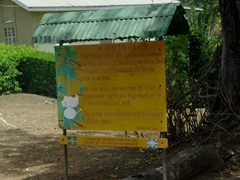 Signpost telling the history of the Baobab tree that crushed the bus (Roseau Botanical Gardens). It happened in 1979 when Hurricane David wrecked his destruction