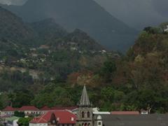 Mountain range behind Roseau Cathedral