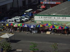 Colorful umbrellas showcasing a variety of souvenirs for sale; downtown Roseau