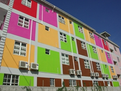 Colorful hotel; downtown Roseau