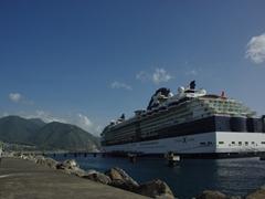 Our cruise ship dominates the petite Roseau harbor