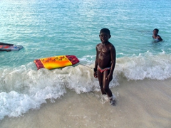 An Anguillan boy poses for a photo