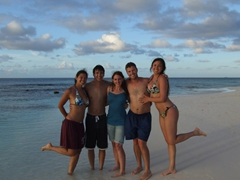 Becky, Luke, Shannon, Robby, and Franny strike a pose on Shoal Bay
