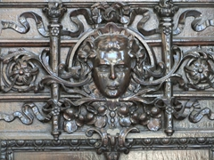 Ornately carved wooden door; Plaza de San Francisco