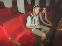 Robby and our guide sitting in Castro's seat at the Grand Theater