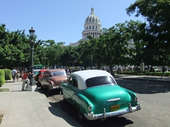 Vintage cars line the edge of Friendship Park to pick up passengers in need of a ride across town