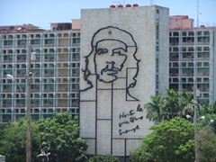 "Mural of Che with the quotation ""Hasta la victoria siempre""; Plaza de la Revolucion"