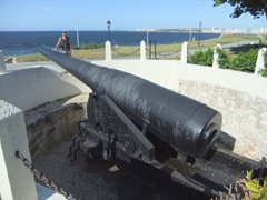 Robby posing beside a 305mm canon used in 1898 to fire on the USS Montgomery during the Spanish-Cuban-American War