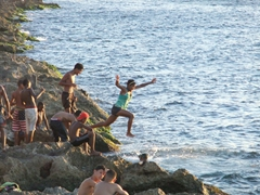 We watched as locals jumped into the sea by the malecon to escape the Havana heat