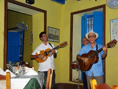 Trovas serenade us at Hanoi Restaurant