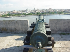A fancy canon points in the direction of Havana; Parque Historico Militar Morro-Cabana