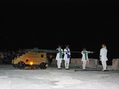 Soldiers preparing for the firing of the canon at the nightly canonazo; El Morro