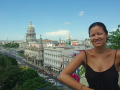 Becky enjoying the beautiful vistas of Havana from the rooftop of Hotel Parque Central