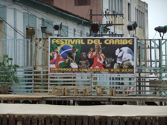 Stage for the Festival del Caribe where musicians performed nightly