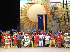 The Curacao contingent putting on a show during the 2010 Festival del Caribe; Heredia Theater
