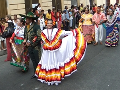 Numerous nations participate each year in Cuba's Feista del Fuego. Here, a Mexican contingent represents their country well
