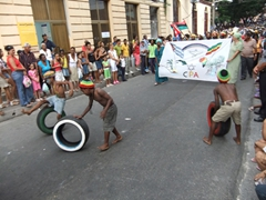 Young Rasta boys getting the crowd's attention