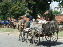 A rickety, old horse drawn cart plying its way down Santiago's streets