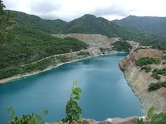 A man made lake near the Loma del Cimarron Monumental Complex