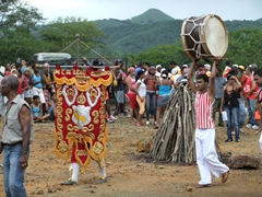 Performers getting ready for the Fiesta del Fuego; Loma del Cimarron