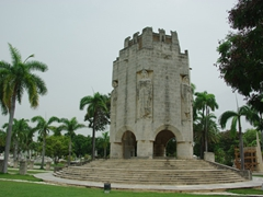 "The mausoleum of Jose Marti, where a military ""changing of the guard"" ceremony occurs every 30 minutes"