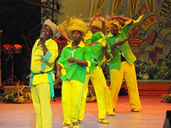 Curacao representatives performing a lively show; Heredia Theatre