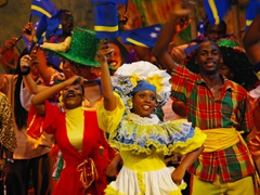 Close up of the colorful Curacao costumes