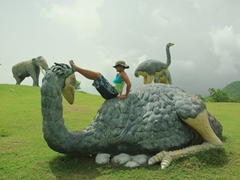 We had the Valle de la Pre Historia all to ourselves, and decided to do silly poses with many of the concrete creatures