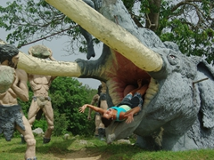 Cavemen to the rescue as Becky gets devoured by a woolly mammoth