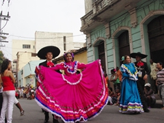 The pretty costumes of the Mexico representatives; Fiesta del Fuego