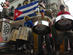 A Cuban band keeps the crowd entertained