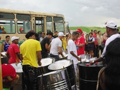 A Brazilian band in the parking lot of El Morro; Fiesta del Fuego