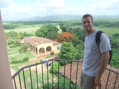 Robby poses on the 44 meter tall watch tower used to oversee slaves working the sugarcane fields; Manaca Iznaga