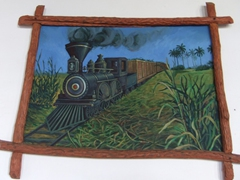 A painting depicting an old stream train chugging its way through the sugar cane fields; Manaca Iznaga Plantation