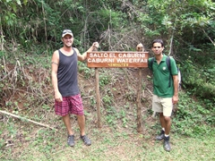 Robby and Luis celebrate after our speedy ascent from Caburni Waterfall; Topes de Collantes