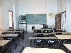 School is out for the day; empty classroom in Trinidad