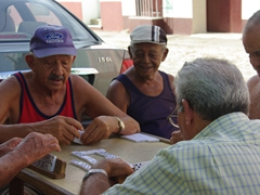Dominos is big business with these locals playing in the streets daily