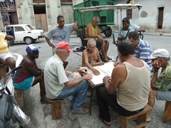 Locals playing dominoes, streets of Camaguey